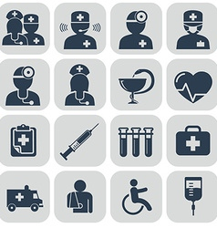 Doctor and Nurses icons on grey vector
