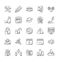 Doodle icons of internet vector
