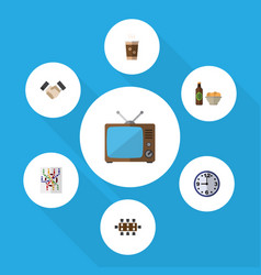 flat icon life set of beer with chips television vector image