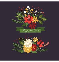 floral design elements on dark background vector image