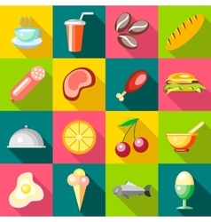 Food icons set flat style vector image