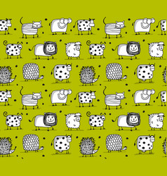 Funny animals seamless pattern for your design vector