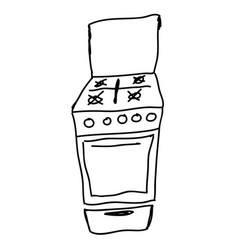 gas stove - hand drawn sketch vector image