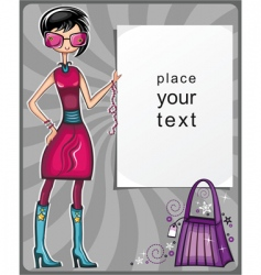 girl showing message board vector image