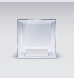 Glass showcase in cube form for presentation on vector