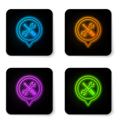 glowing neon location with crossed screwdriver vector image