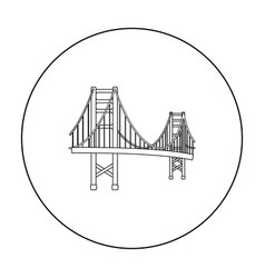 Golden gate bridge icon in outline style isolated vector