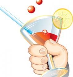 hand with cocktail vector image vector image