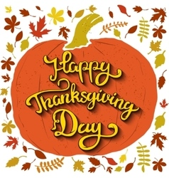 happy thanksgiving day hand drawn lettering vector image