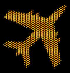 Hexagon halftone jet plane icon vector