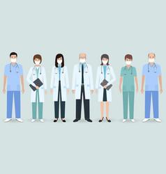 Hospital staff set seven men and women doctors vector