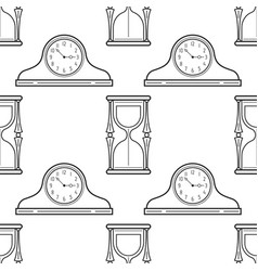 Hourglass and mantel clocks black and white vector