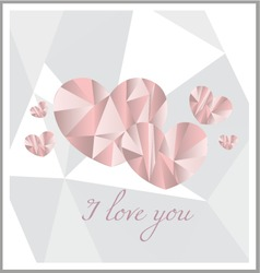 I love you pink poly art vector