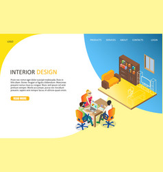 interior design landing page website vector image