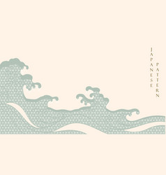 Japanese hand draw wave background with geometric vector