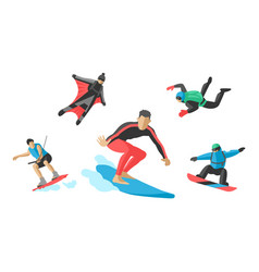Jumping extreme athletes silhouettes vector