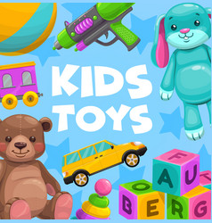 kids toys cartoon poster baplaythings vector image