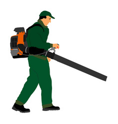 Landscaper operating petrol leaf blower vector