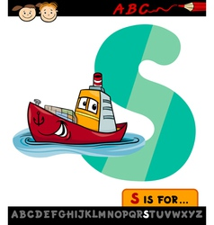 letter s with ship cartoon vector image