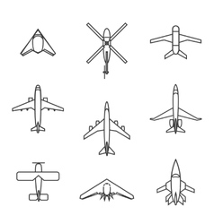 line aircraft set vector image
