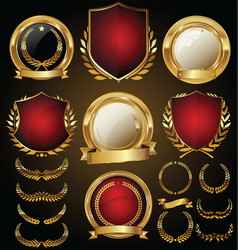 Medieval gold and red shields laurel wreaths and vector