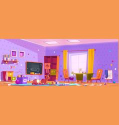 Messy kids playroom interior in kindergarten vector