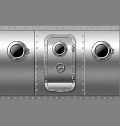 Metal door on wall with portholes and rivets vector