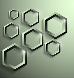 Modern metallic polygonal shape with shadow vector