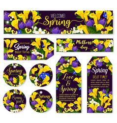 Mother day flower tag for spring season holiday vector