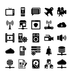network and communication icons 6 vector image