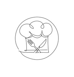 One single line drawing chef hat or cap with vector