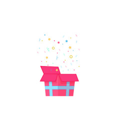 open gift box with confetti stars and falling vector image