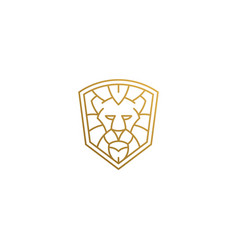 Outline emblem geometric lion head in shield vector