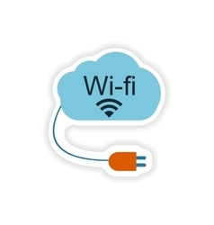 Paper sticker on white background wi fi cloud vector