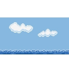 Pixel art style sea water and clouds vector image