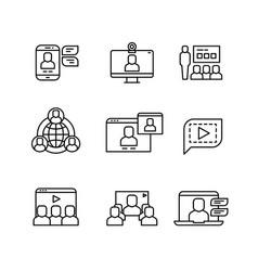 Presentation computer conference webinar vector