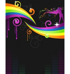 rainbow music flyer vector image