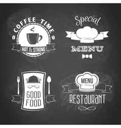 Restaurant menu emblems set vector image