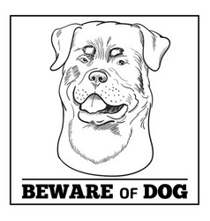 Rottweiler dog and beware sign isolated on white vector