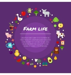 Round farm flat banners depicting life in vector image