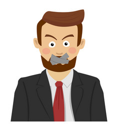 serious businessman with scotch-tape on his mouth vector image