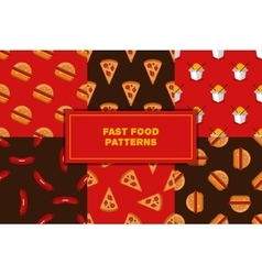 Set of geometric flat fast food seamless vector