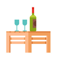 Small wooden table with bottle wine and two vector