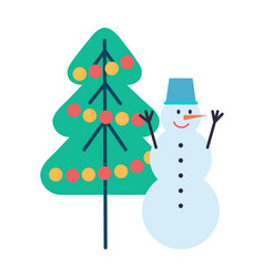 snowman hands up bucket on head christmas tree vector image