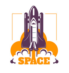 space isolated icon spacecraft start cosmic rocket vector image