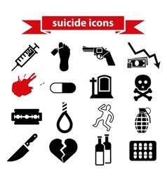 Suicide icons vector