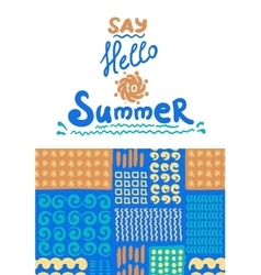 Summer card with designed text vector image