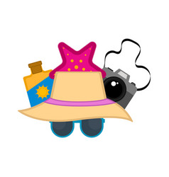 summer hat sunglasses and more summer objects vector image