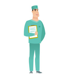 Surgeon holding clipboard with papers vector