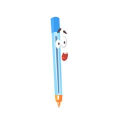 surprised cartoon blue pen comic character vector image